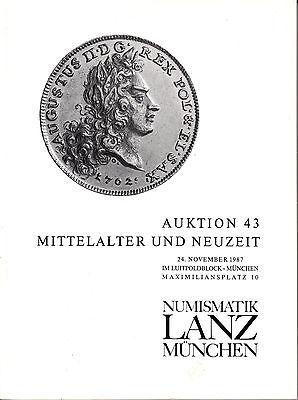 LANZ AUKTION  43 Katalog 1987 Neuzeit Mittelalter Habsburg Sachsen Reich ~