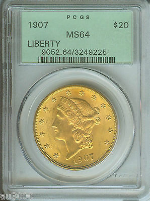 1907 $20 LIBERTY DOUBLE EAGLE PCGS MS64 MS 64 OLD GREEN HOLDER OGH