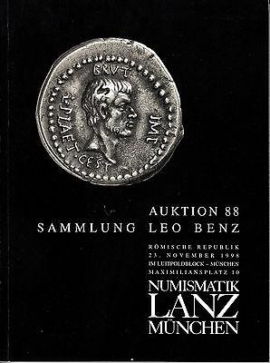 LANZ AUKTION  88 Katalog 1998 Sammlung Benz Münzmeister Bundesgenossen Krieg ~