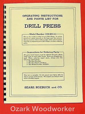 Craftsman 103.23141 Drill Press Operators Part Manual 0171