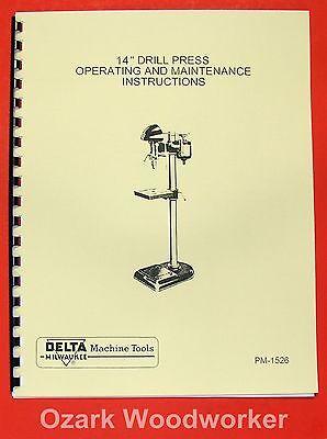 "DELTA-MILWAUKEE 14"" Drill Press DP-220 Instructions & Parts Manual 0239"