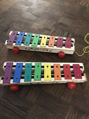 Two Vintage Fisher Price Wooden Xylophone Pull Toys