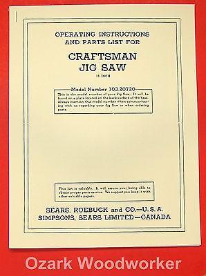 "CRAFTSMAN 18"" Jig Saw 103.20720 Operator's & Part Manual 0183"