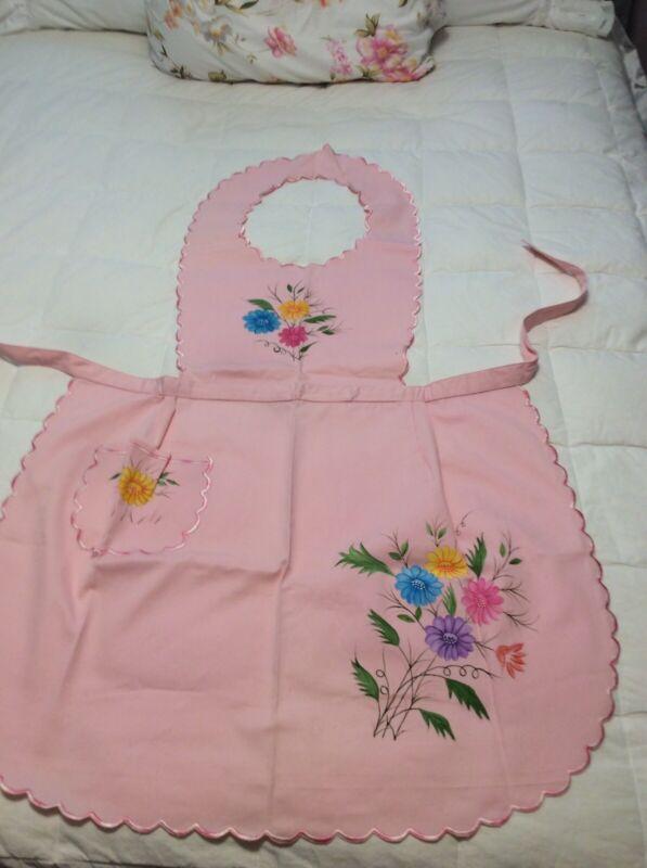 Vintage Full Bib Apron Pink With Painted Flowers Back Ties