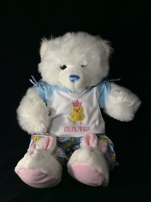 BABW Build A Bear BLUE TEDDY Satin CHICKS RULE Pajamas & Slippers Plush