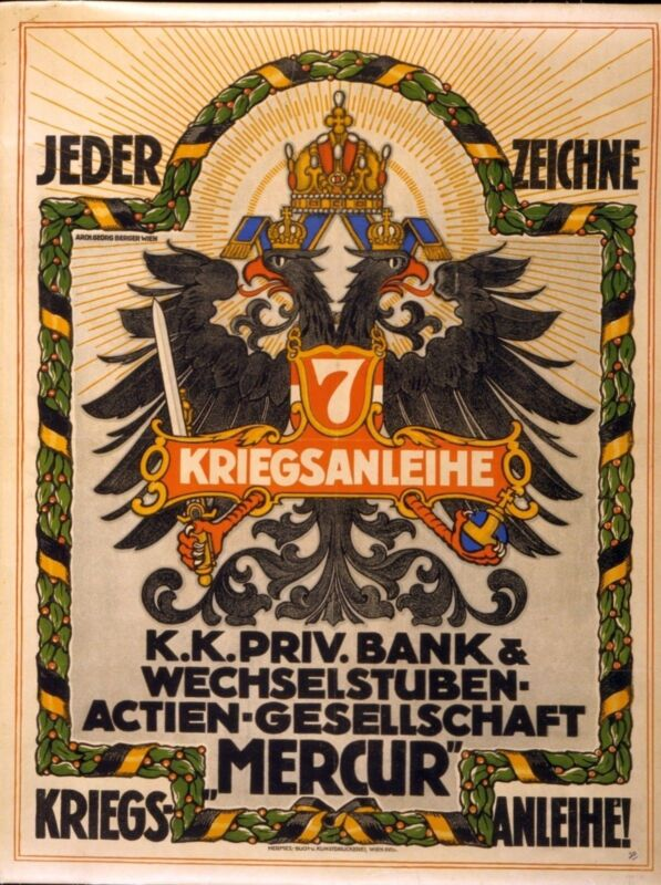 WWI PROPAGANDA POSTER World War 1 Austrian-Hungarian double-headed eagle 1917