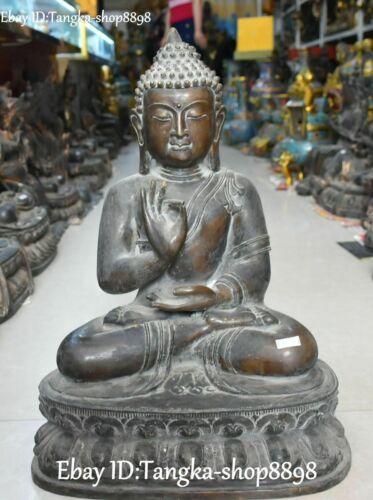 """20"""" Tibetan Old Bronze Shakyamuni Sakyamuni Amitabha Tathagata Buddha statue"""