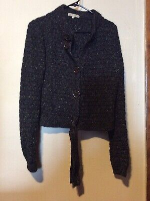 Womens House Of Dagmar Black & White Tweed  Sweater Size M