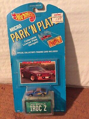 Hot Wheels Micro Park N Plate Iroc Z License Plate Garage Die Cast Vehicle New