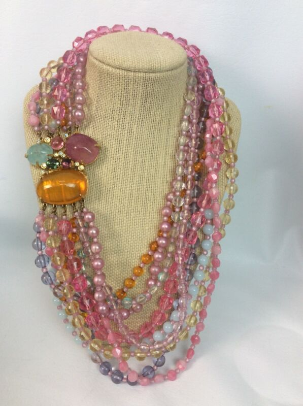 Beautiful Vtg Statement Couture Brania Gripoix  Lucite  9 Strands necklace