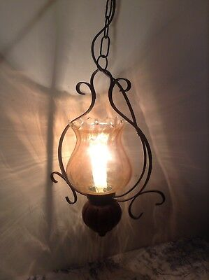Vintage French Wrought-Iron Style Ceiling Light with Tinted Glass Shade (1746)