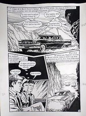 Planche originale Ce soir à Chiraz Vicomte 116 adaptation Fleuve noir Fred Noro