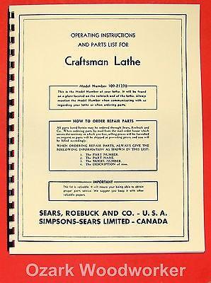 Craftsman-dunlap 6 Metal Lathe 109.21270 Operator Part Manual 0173