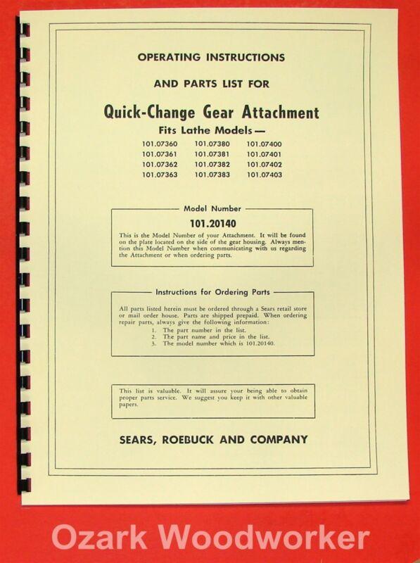 "CRAFTSMAN/Atlas 101.20140 12"" Quick-Change Gear Instruction & Parts Manual 0188"