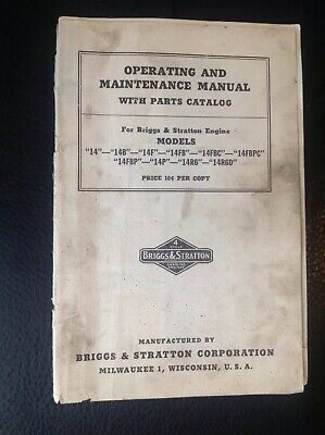 Vintage Briggs Stratton Parts Maintenance Manual 14 14b 14f 14fbc 14fbf