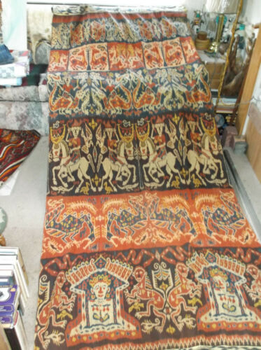 """VINTAGE SUMBA IKAT HINGGI INDONESIAN WEAVING FROM OLD DUTCH COLLECTION 110""""x50"""""""