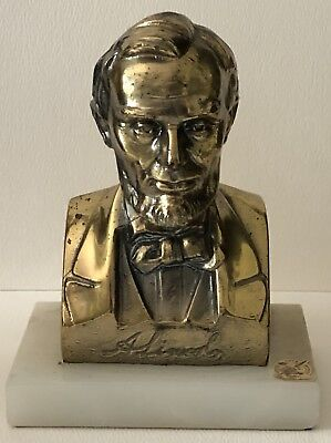 Vintage Abraham Abe Lincoln Gold Statue Bust White Marble Base Figure Bookend for sale  Lombard