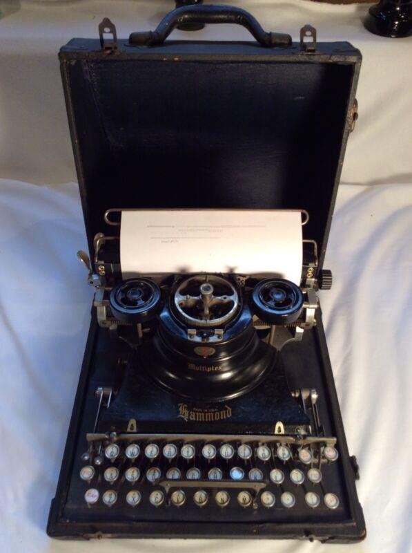 Vintage 1915 Hammond Multiplex Portable Typewriter & Leather Case - Works V/Nice