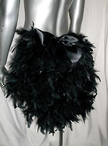 FEATHER BUSTLE WITH BOW BURLESQUE SHOW GIRL BLACK