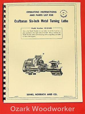 "CRAFTSMAN/ATLAS 6"" Metal Lathe 101.21400 Owner's Manual ~REVISED 0190"