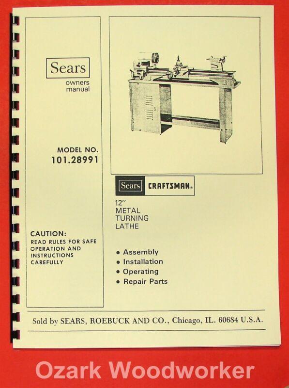 "CRAFTSMAN/ATLAS 101.28991 12"" Metal Lathe Operators & Parts Manual 0795"