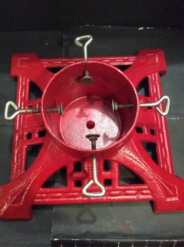 RED HEAVY DUTY CAST IRON CHRISTMAS TREE STAND