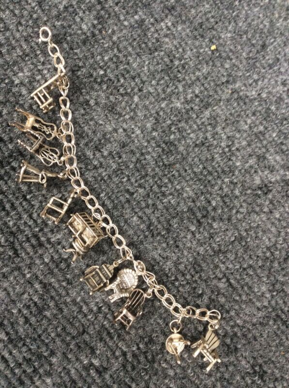 Beautiful Vtg 7  Sterling Silver 925 Chair Charms Bracelet