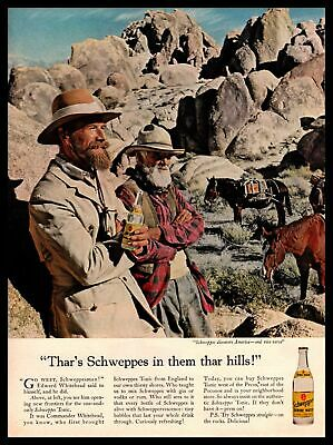 1962 Schweppes Quinine Water Tonic Drink Mixer Horse Donkey Vintage Print Ad