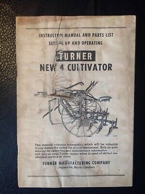 Vintage Turner New 4 Horse Drawn Cultivator Manual And Illustrated Parts List