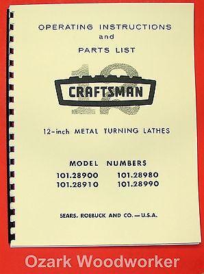 Craftsman 101.28900 101.28910 101.28980 101.28990 12 Lathe Parts Manual 0857