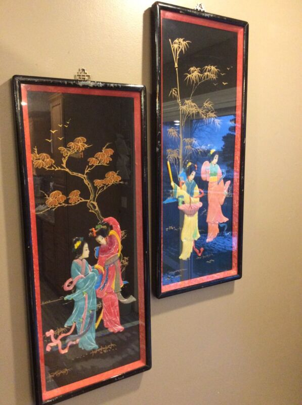Pair Vintage Asian Hand Crafted 3D Shadow Box Wall Art Pictures Keisha Girls
