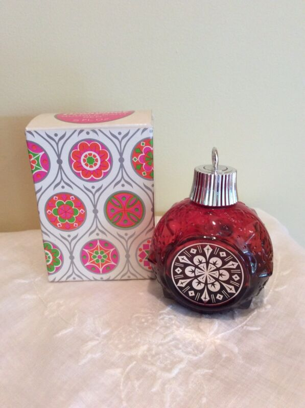 AVON Bottle CHRISTMAS ORNAMENT - Red, Silver, Bubble Bath, Height 3.5in, Box