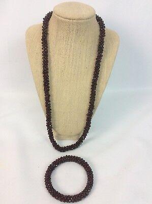 Beautiful Antique Vtg Victorian Garnet Twist Rope Necklace Bangle Bracelet Set
