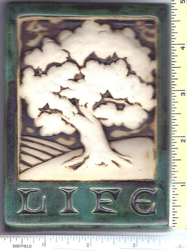 """Carruth Art Tile TREE OF LIFE DESIGN IN RELIEF Home,Wall Plaque 3 3/4"""" x 4 7/8"""""""