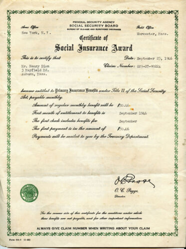 SOCIAL SECURITY BOARD 1946 Federal Security Agency United States Certificate