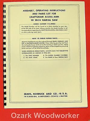 Sears Craftsman 113.29501 12 Inch Radial Arm Saw Op /& Parts Manual #1500