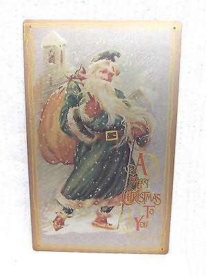 Merry Christmas SANTA Tin Metal Sign Decor Holiday Snow Vintage Look NEW  ()