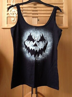 Halloween, Creepy Pumpkin Face Hand Spray Painted Vest - Creepy Face Paint Halloween