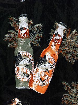 Marlin Beer Bottle Xl Hawaiian Shirt Black Rayon Fish Palm Tree Drink Camp