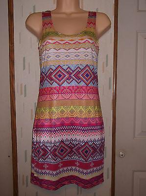 Slinky Mini Dress - WET SEAL MultiColor Print Sleeveless Slinky Knit Mini Dress Sz.M Beach Clubwear