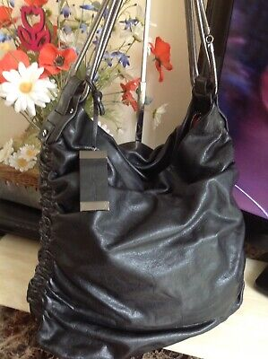 Large Real Leather Slouchy Shoulder Bag Kenneth Cole NY Good Cond Used 40x42x11c