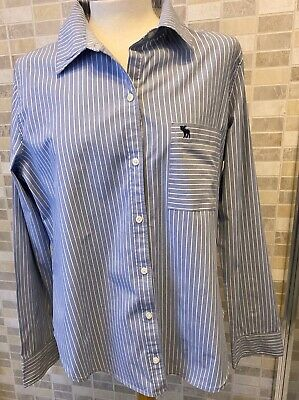 Ladies Abercrombie & Fitch Blue & White Striped Long Sleeved Shirt Size L