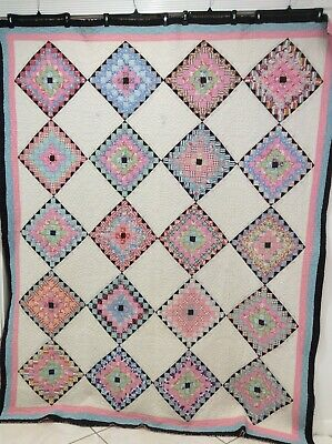 Vintage 1930s Postage Stamp Quilt Or Cutter 67 x 83 Nice Quilting & Fabric for sale  West Palm Beach