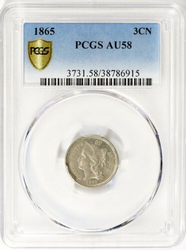 1865 THREE CENT NICKEL ..PCGS AU58