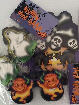 4 Vintage Halloween Paper Garland Decoration Ghost Black Cat Skeleton JOL New