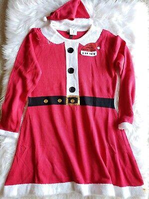 NWT Allison Brittney Cute Ugly Christmas Sweater Dress 2XL Mrs Santa Red w/ Hat ()