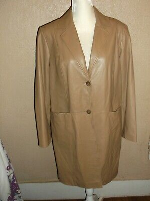 Preston & York LAMB skin Tan Leather Coat womens L Button Front Pockets Lined  Lined Lambskin Leather