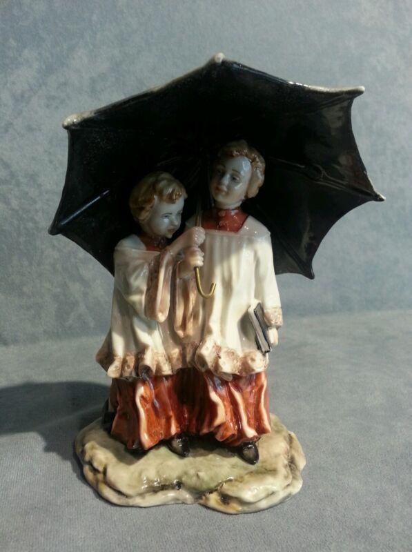 Capodimonte porcelain Pair Of Altar Boys With Umbrella Signature Merli