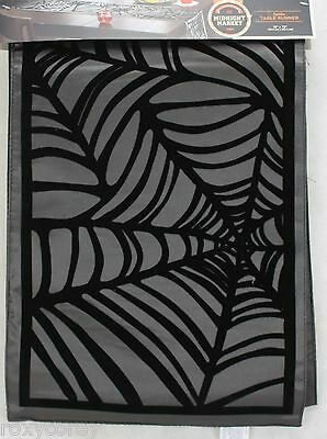 Halloween The Midnight Market Black with Spider Web Table Runner 13x72 NWT
