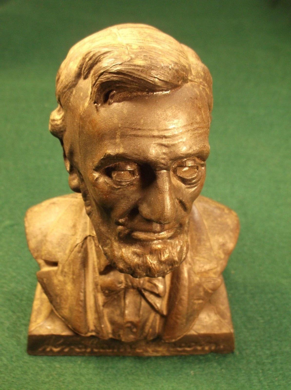 #2 of 2, HEAVY OLD VTG ANTIQUE ABE ABRAHAM LINCOLN COIN BANK, KIMBALLTON, IOWA